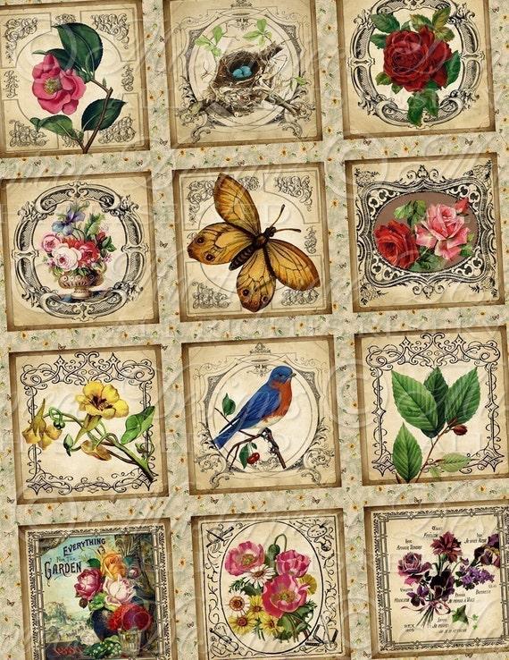 Vintage Garden / Flowers / Birds / Butterflies - 1x1 Inch Square Tiles Digital JPG Collage Sheet