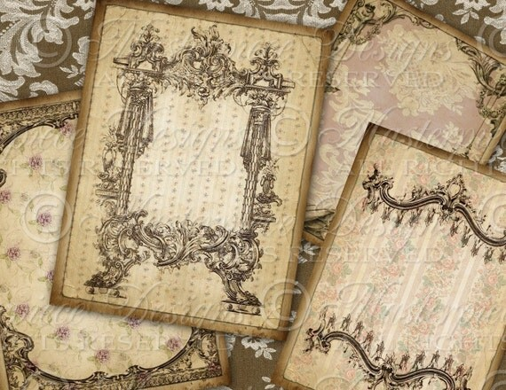 Antique Wallpaper Ornate - ATC, ACEO Tags, Download and Print Digital Sheet