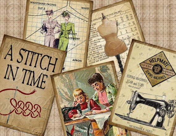 A Stitch In Time / Sewing - ATC, ACEO, Hang Tags, Download and Print Digital Sheet