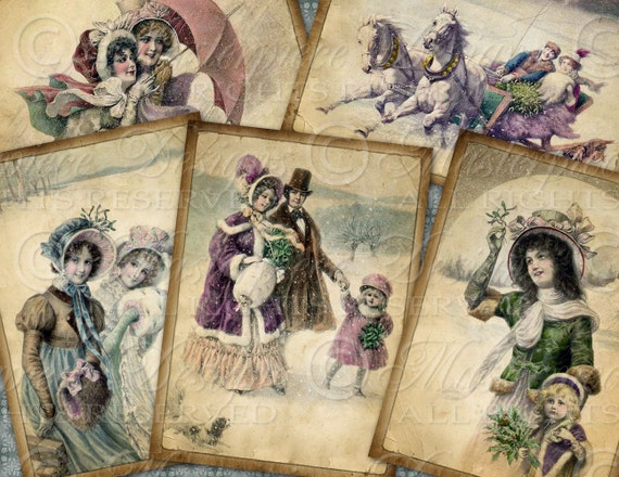 Winter Wonderland / Snow / Victorian Christmas - ATC, ACEO, Hang Tags, Download and Print Digital Sheet