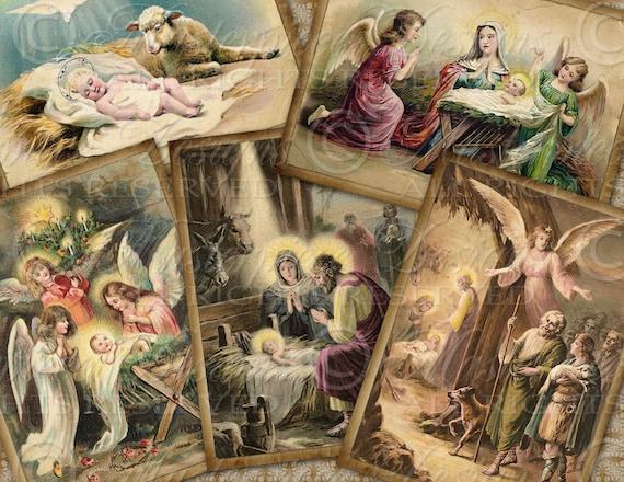 O Holy Night / Nativity / Birth Of Christ / Christmas - ATC, ACEO, Hang Tags, Download and Print Digital Sheet