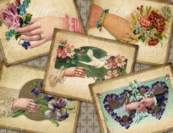 Lovely Victorian Hands / Antique - ATC, ACEO, Hang Tags, Download and Print Digital Sheet