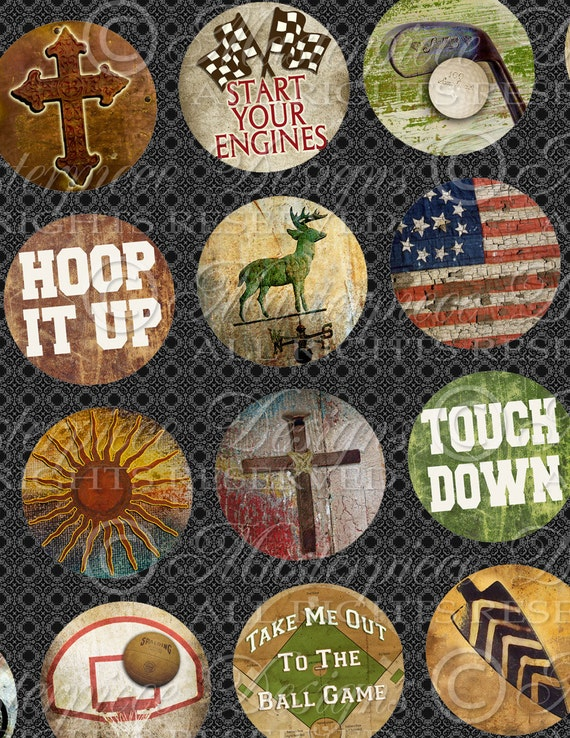 For My Guy / Guys / Men / Masculine / Husband / Dad / Fathers Day - One Inch Round Bottlecap Designs Digital JPG Collage Sheet