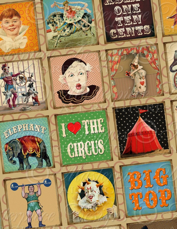 Circus / Big Top / Vintage Clowns / Circus Animals - 1x1 Inch Square Tiles Digital JPG Collage Sheet