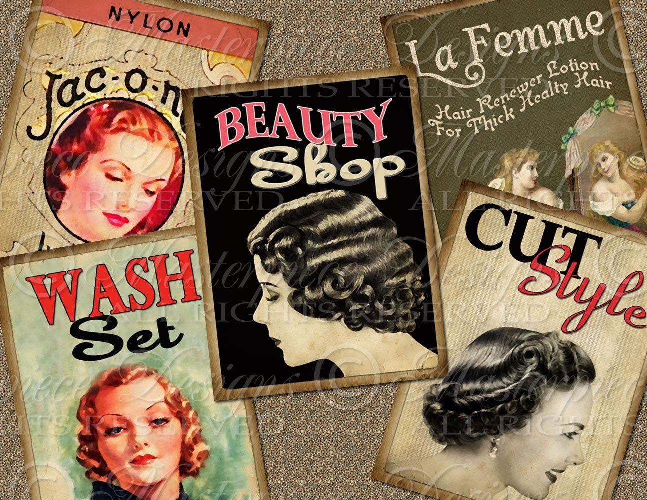 Beauty shop hair salon atc aceo hang tags download for Retro salon