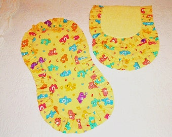 Ready to Ship. Carebears Burp Cloths,  set of 2,  with ruffles and terrycloth backing.