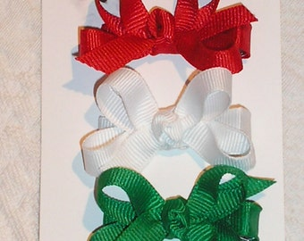 Stocking Stuffer.  Tiny Bows in Red, White, and Green Grosgrain for Winter.  Ready to Ship.