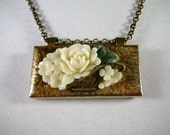 Necklace, 25in, Brass, Ceramic, Acrylic Flowers  4137