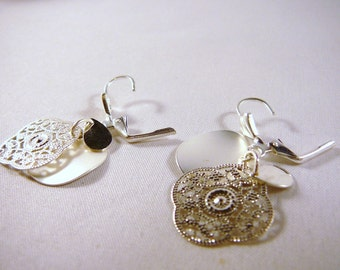 Earrings, Sterling Silver, Three Disks, filigree
