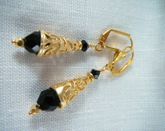 Earrings, GP, Swarovski, Black, Filigree 3036