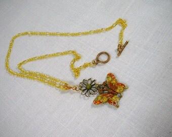 Necklace, Brass, Yellow, Orange, Green, Butterfly,  4120