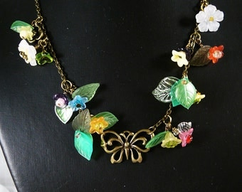 Necklace, Butterfly, Flowers, Leaves   4145