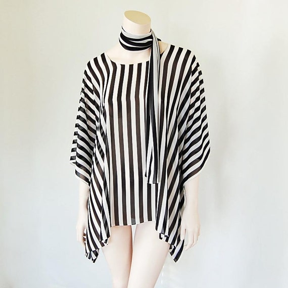 Bold and Bodacious Black & White Swing Top, Poncho with Long Scarf and Flowing Kimono Sleeves