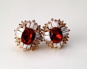 Stunning Ruby Red Retro Earrings