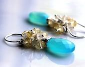 Citrus Fizz Handmade Chalcedony and Citrine Gemstone Cluster Earrings