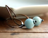 Hoop Earrings with Aquamarine, Brass and Sterling Silver
