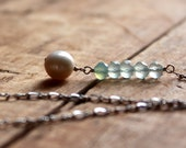 Pearl and Chalcedony Necklace with Sterling Silver Chain - Ocean Droplet