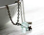 Aqua Quartz Necklace with Antique Bronze Chain - Secrets of the Sea