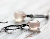 Small Hoop Earrings with Rose Quartz Briolettes - Apparition