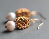 Pearl Earrings with Vintage Brass Filigree Beads - Opulence