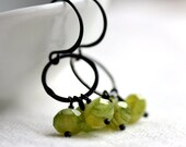 Peridot Green Beaded Earrings with Czech Glass and Small Hoops - August Birthstone Bright Chartreuse