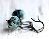 Teal Blue Glass Bead Earrings with Sterling Silver Hoops - Summer Beach Ocean Fashion