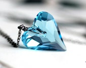 Heart Necklace Blue Topaz Swarovski Crystal Ice Blue Heart Pendant on Sterling Silver Chain - Ice Queen