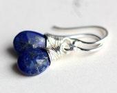 Lapis Lazuli Cobalt Blue Earrings in Sterling Silver, Starry Night
