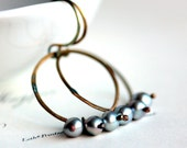 Pearl Hoop Earrings - Silver Gray Freshwater Pearls on Large Hoops - Smokescreen - June Birthstone