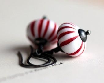 Peppermint Earrings Beaded Earrings Silver Earrings Christmas Earrings Candy Cane Holiday Earrings Red White Striped Stocking Stuffer