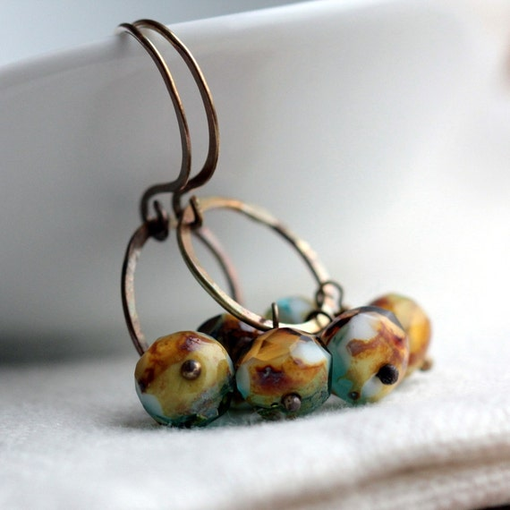 Beaded Earrings with Turquoise and Brown Czech Glass  and Small Hoops - Calypso