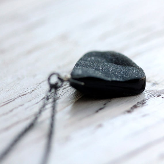 Necklace, Black Druzy Pendant with Oxidized Sterling Silver Chain - Galaxy