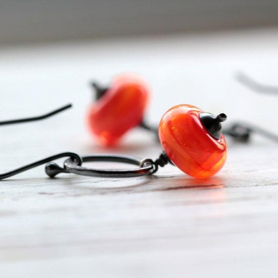 Tangerine Orange Glass Earrings with Sterling Silver Hoops - Flame LAST PAIR