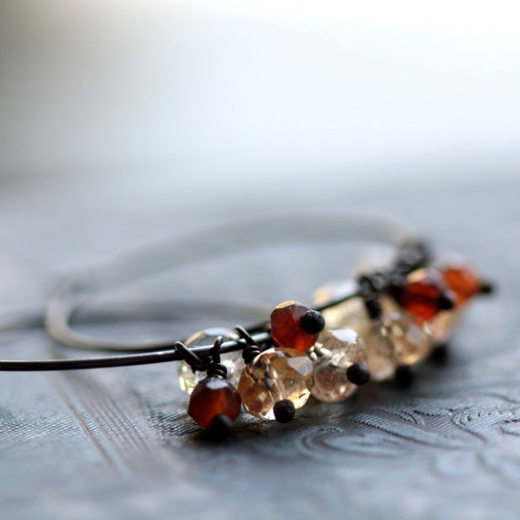 Large Hoop Earrings in Sterling Silver with Yellow Citrine and Amber Hessonite Gemstones - Autumn Leaves