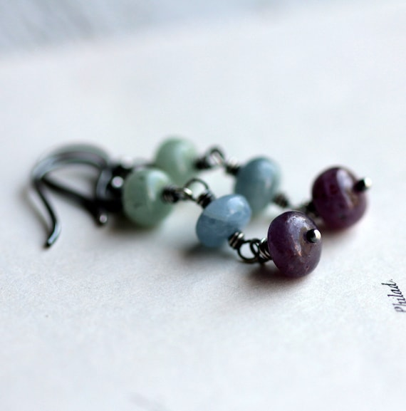 Multicolored Sapphire Dangle Earrings on Sterling Silver - Summer Fashion Luxury