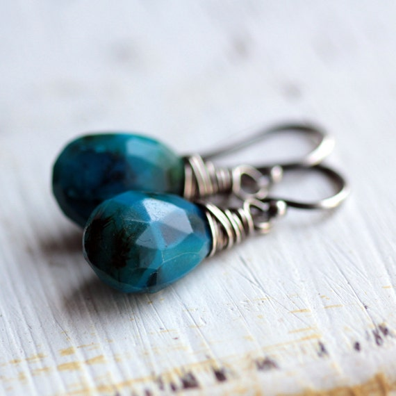 RESERVED Blue Chalcedony Earrings Wire Wrapped in Oxidized Sterling Silver - Pontoon Summer Fashion
