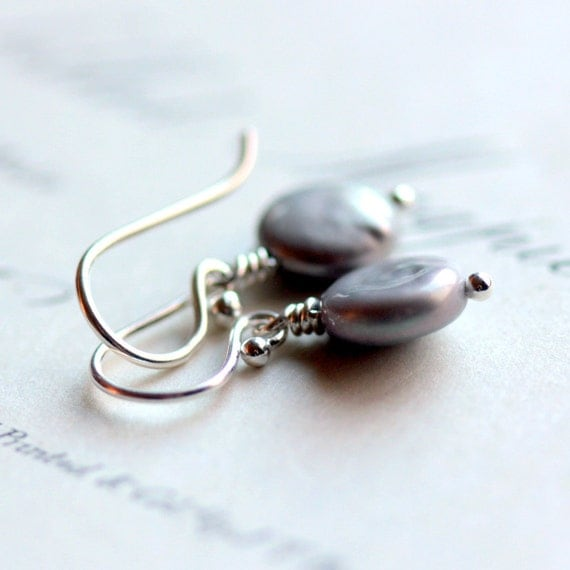 Pearl Earrings, Pewter Gray Coin Pearls and Sterling Silver - Wishing Well - June Birthstone Summer Wedding