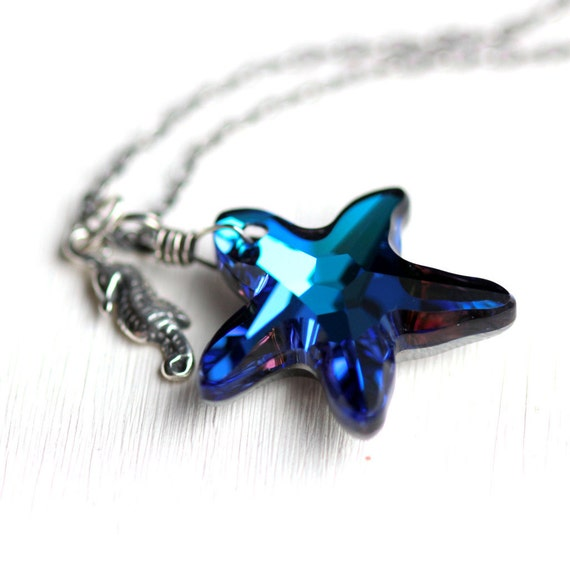 Starfish Necklace - Bermuda Blue Swarovski Crystal Starfish and Sterling Silver Seahorse Charm Necklace - Ocean Beach Summer Fashion