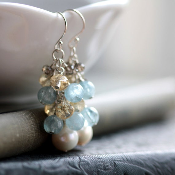 Seaside Wedding Earrings Cluster Gemstone and Pearl Earrings with Aquamarine, Citrine and Smoky Quartz - June November Birthstone