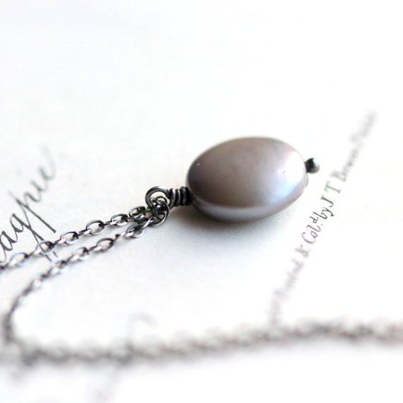 June Birthstone Gray Pearl Necklace Freshwater Coin Pearl on Oxidized Sterling Silver Chain Modern Necklace