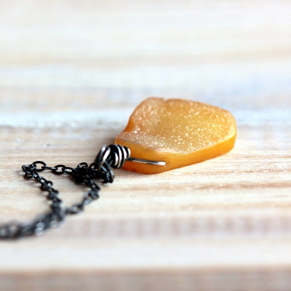 Yellow Druzy Pendant Necklace on Sterling Silver Chain - Lemon Ice