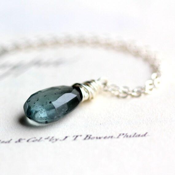 March Birthstone Moss Aquamarine Necklace on Sterling Silver Chain - Summer Fashion Ocean Blue
