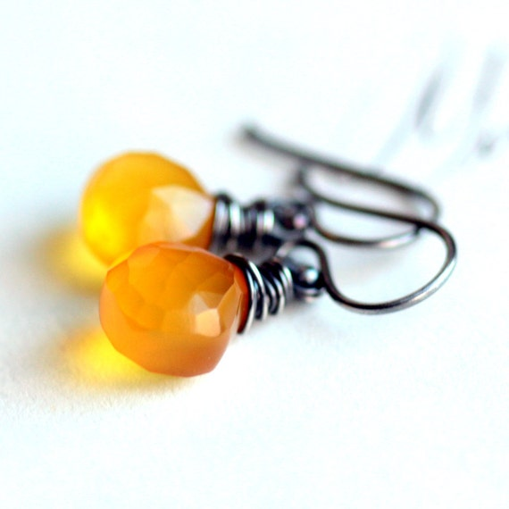 Yellow Gemstone Earrings, Wire Wrapped Mustard Yellow Chalcedony with Sterling Silver - Glow
