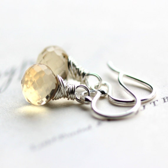 Yellow Earrings Lemon Quartz Gemstone Earrings Wire Wrapped in Sterling Silver - Lemon Drop Summer Fashion