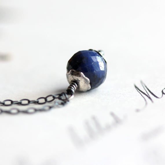 September Birthstone Sapphire Blue Necklace on Oxidized Sterling Silver Chain - Plummet