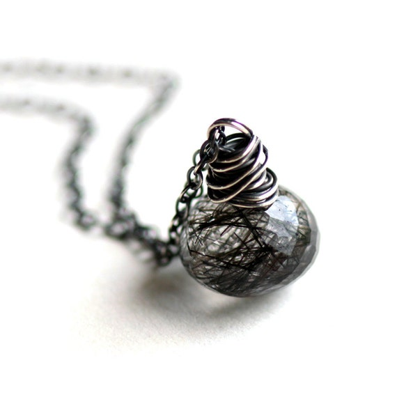 Black Tourmalinated Quartz Necklace Wire Wrapped in Sterling Silver Blur Modern Necklace Modern Fashion Gift Under 50