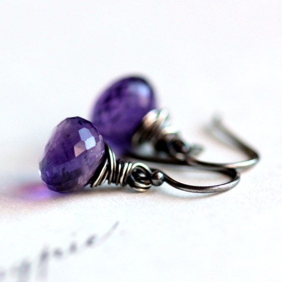 February Birthstone Amethyst Purple Birthstone Earrings Wire Wrapped Sterling Silver - Elixir