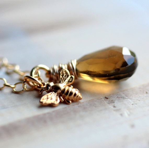 RESERVED Gold Bee Necklace Whiskey Quartz, Gold Honey Bee Charm and Gold Chain - Queen Bee