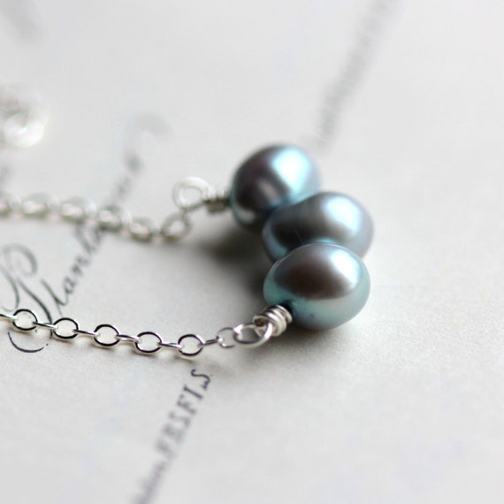 Blue Pearl Necklace on Sterling Silver Chain - Winter Wedding Pastel Willow Blue June Birthstone Bride Bridesmaid Under 50