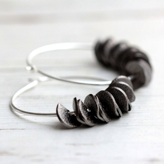 Ruffle Hoop Earrings in Black with Sterling Silver - Small Stardust Winter Fashion Minimalist Modern Under 30 Gift Free Shipping